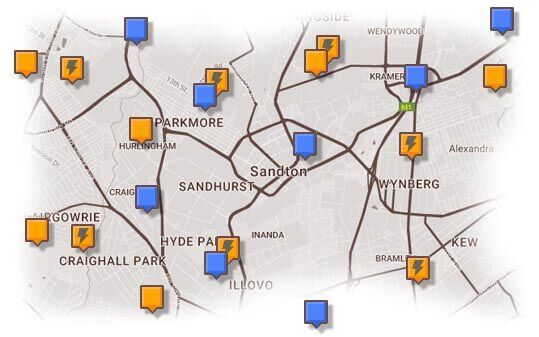 Map of Sandton & Surrounding Accommodation